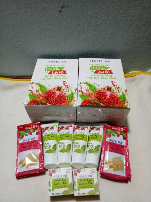 set quà Hazeline 4 tuýt sữa rửa mặt 15g + 2 hộp kem nén 3g + 12 gói sữa tắm 6g + Tặng 1 túi đựng mỹ phẩm