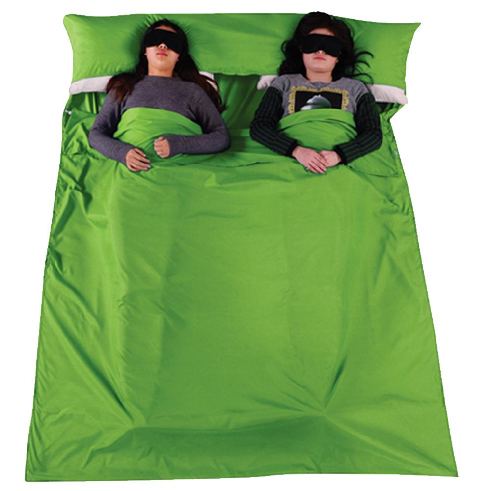 Hình ảnh Ngoài trời Di Động Mềm Mại 2 Người 2 Cặp Đôi Túi Ngủ với một Túi đựng Du Lịch Cắm Trại Đi Bộ Đường Dài Khách Sạn Xanh Đậm -quốc tế