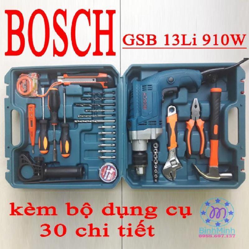 Máy khoan BOSCH GSB13 + bộ 30 dụng cụ - may khoan cam tay