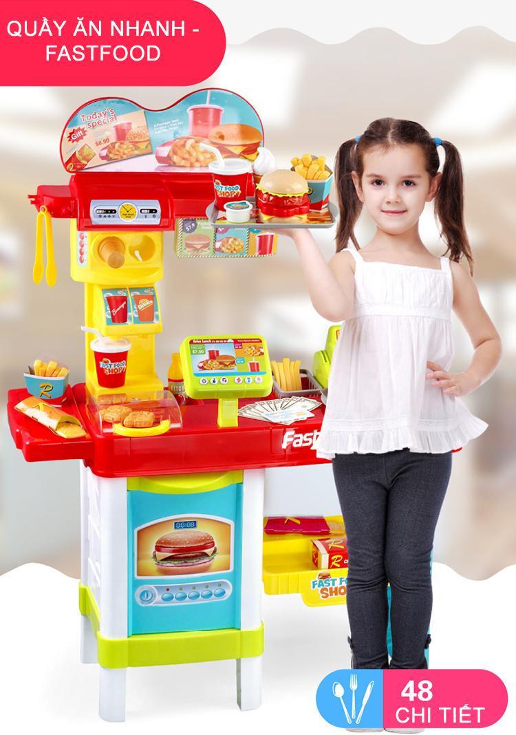 Hình ảnh Bộ đồ chơi quầy đồ ăn nhanh và đồ ăn sáng Fastfood bằng nhựa cao cấp cho bé