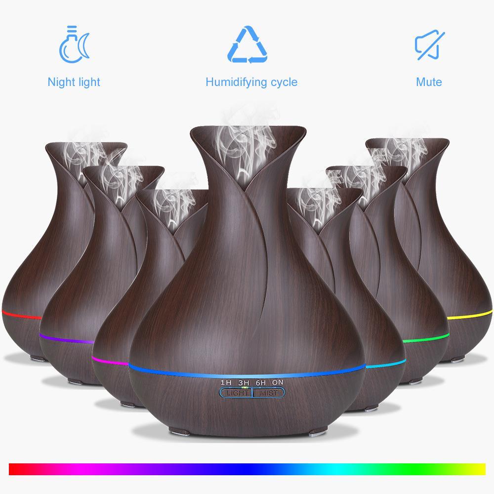 Bảng giá Máy khuếch tinh dầu bình hoa đen dung tích 400ml phun 8- 10 tiếng tạo ẩm, tạo hương tặng 10ml tinh dầu bạc hà Ngọc Tuyết