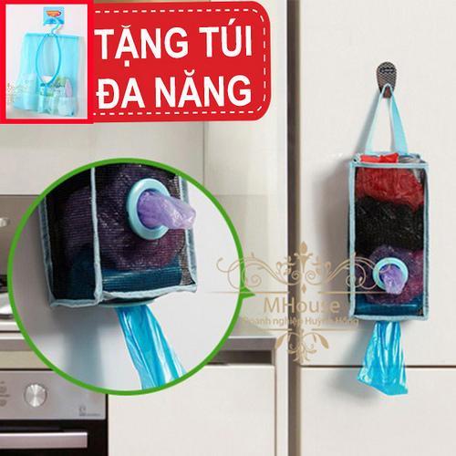 Hình ảnh Combo 2 Giỏ đựng vật dụng,rút túi nilon,bao rác .Tặng Túi đa năng có móc treo