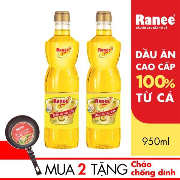 Combo 2 chai Dầu ăn cao cấp từ cá Ranee 950ml + Tặng 1 chảo chống dính cao cấp