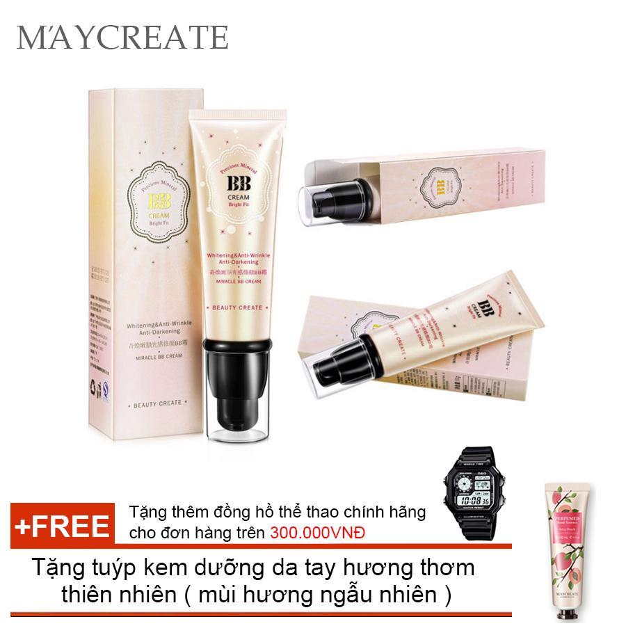 Kem Che Khuyết Điểm Maycreate Bb Cream ( Vàng ) + Tặng tuýp kem dưỡng da tay hương thơm  thiên nhiên ( mùi hương ngẫu nhiên )