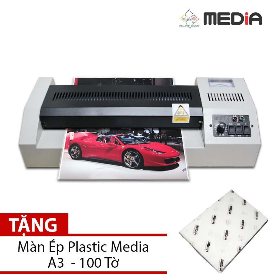 Bộ Sản Phẩm Máy Ép Màn Plastic Media MD320 Khổ A3 + Màn Ép Plastic A3 100 Tờ