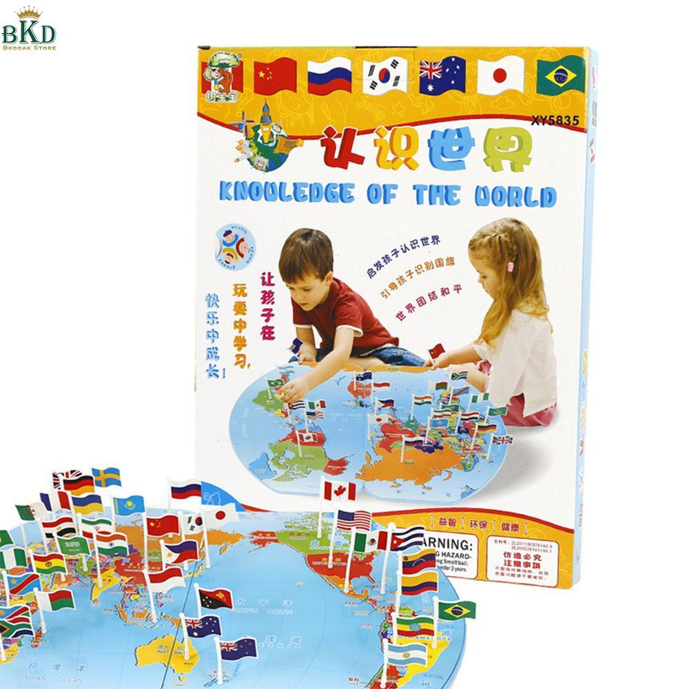 Hình ảnh Bkodak Store with Flag Wood Jigsaw Puzzle World Map Safe Eco-Friendly Kids Toy