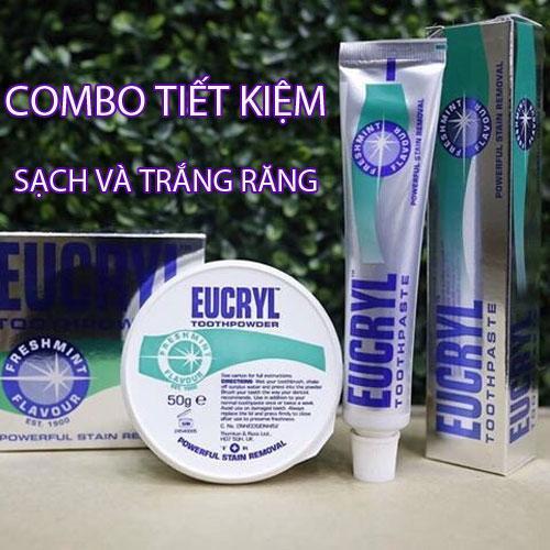 Hình ảnh Bộ kem đánh răng và Bột tẩy trắng răng EuCryl nhập khẩu từ Anh