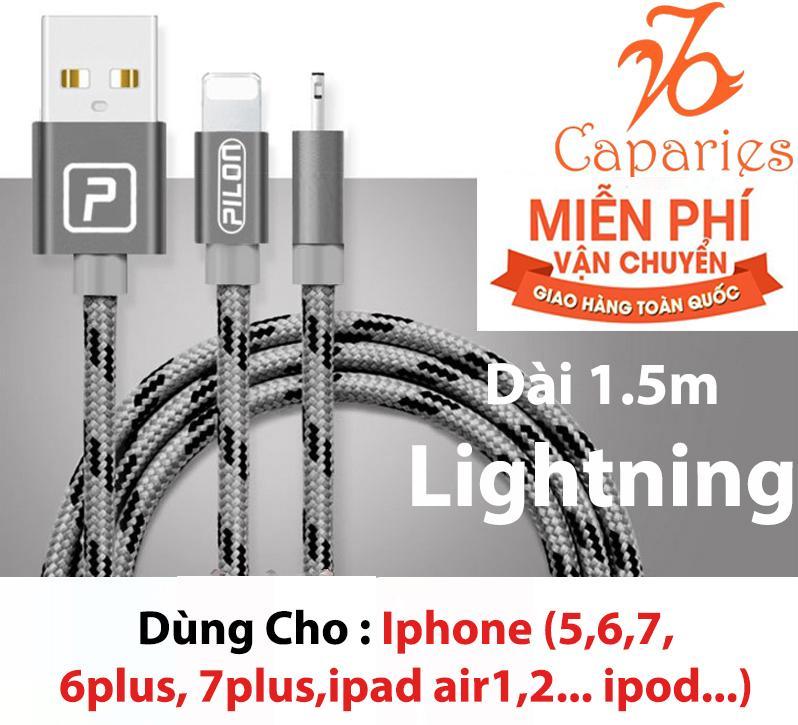 Hình ảnh (Có 3 màu) Cáp Sạc Siêu Bền Lightning PILON (Iphone , ipad ) 1.5 Mét - Dây dù bảo vệ 3 lớp