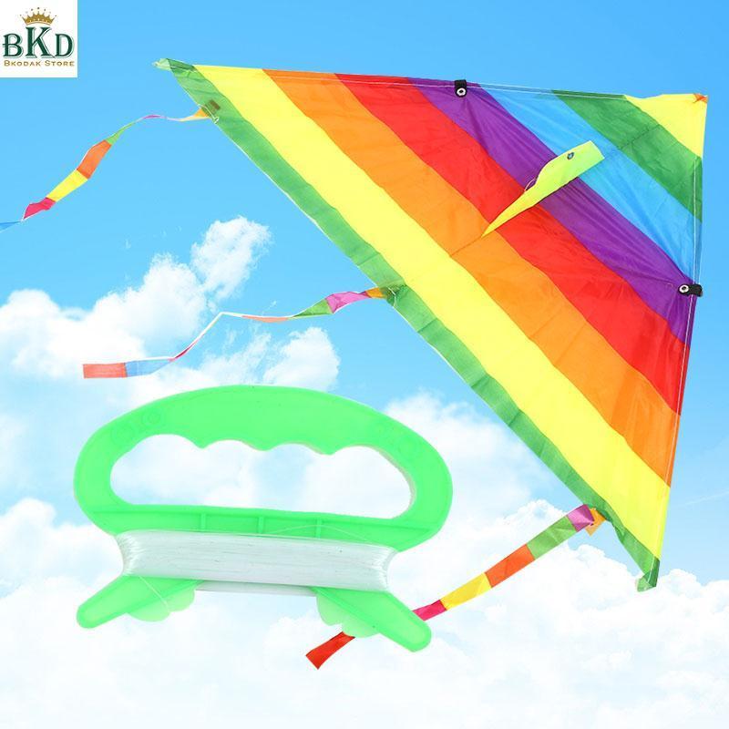 Hình ảnh Bkodak Store Triangle Polyester Multicolor Kite Rainbow Kite Kids Rainbow Kite