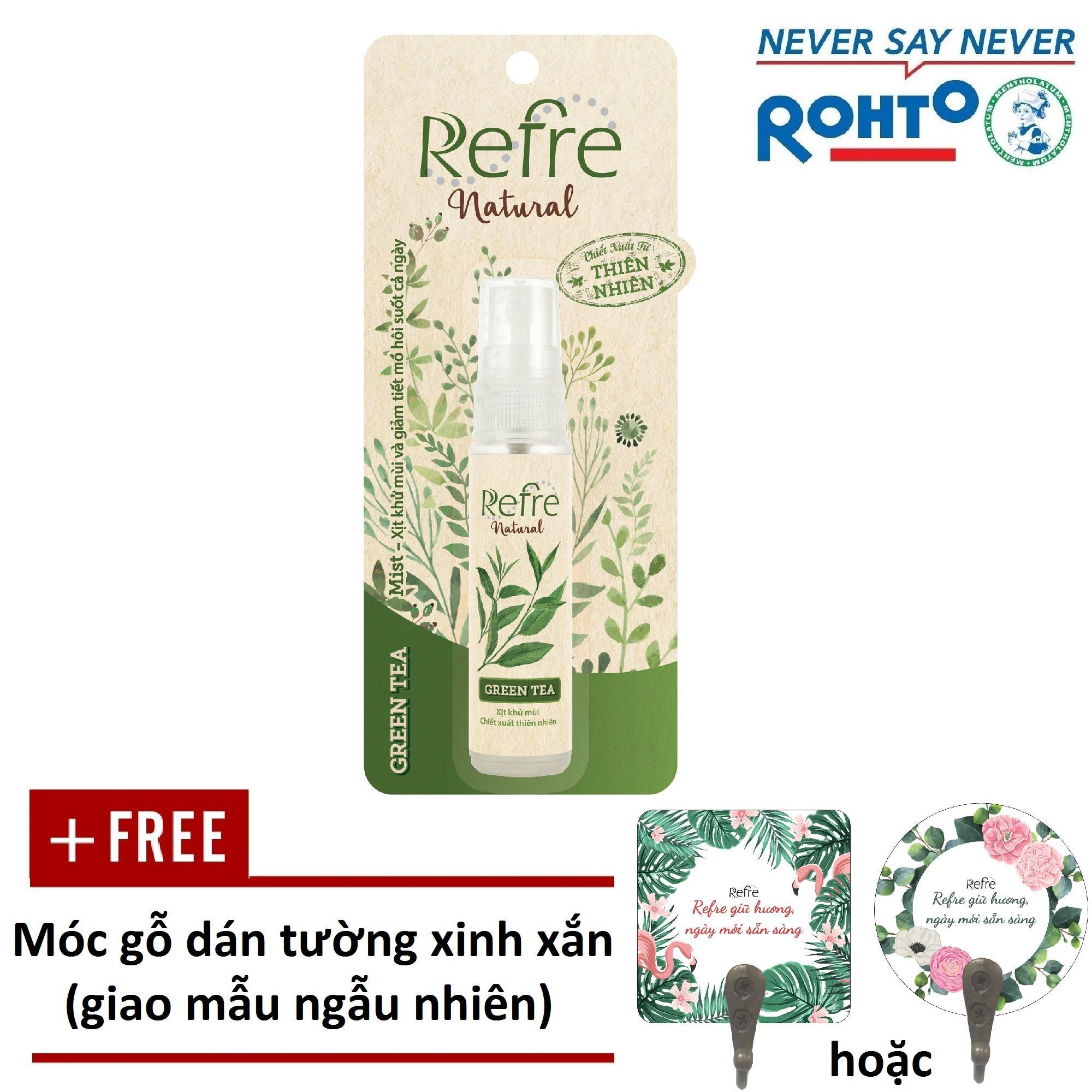 Hình ảnh Xịt Khử Mùi Refre Natural Green Tea Hương Trà Xanh (30ml) + Tặng móc gỗ dán tường xinh xắn