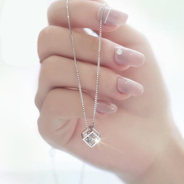 Hình ảnh Dây chuyền bạc 925 Ý nữ phong cách Hàn Quốc sale giá cực rẻ ( Mặt Vuông Pha Lê )