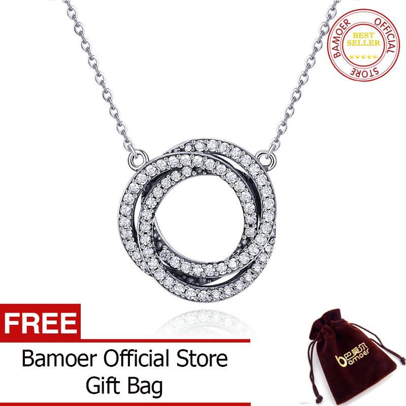 Bamoer Gratis Shpping Nyata 925 Perak Berkilau Minimalis Elegan Lingkaran Bulat Bening CZ Juli Kalung Liontin Wanita Sterling Perhiasan Perak SCN259