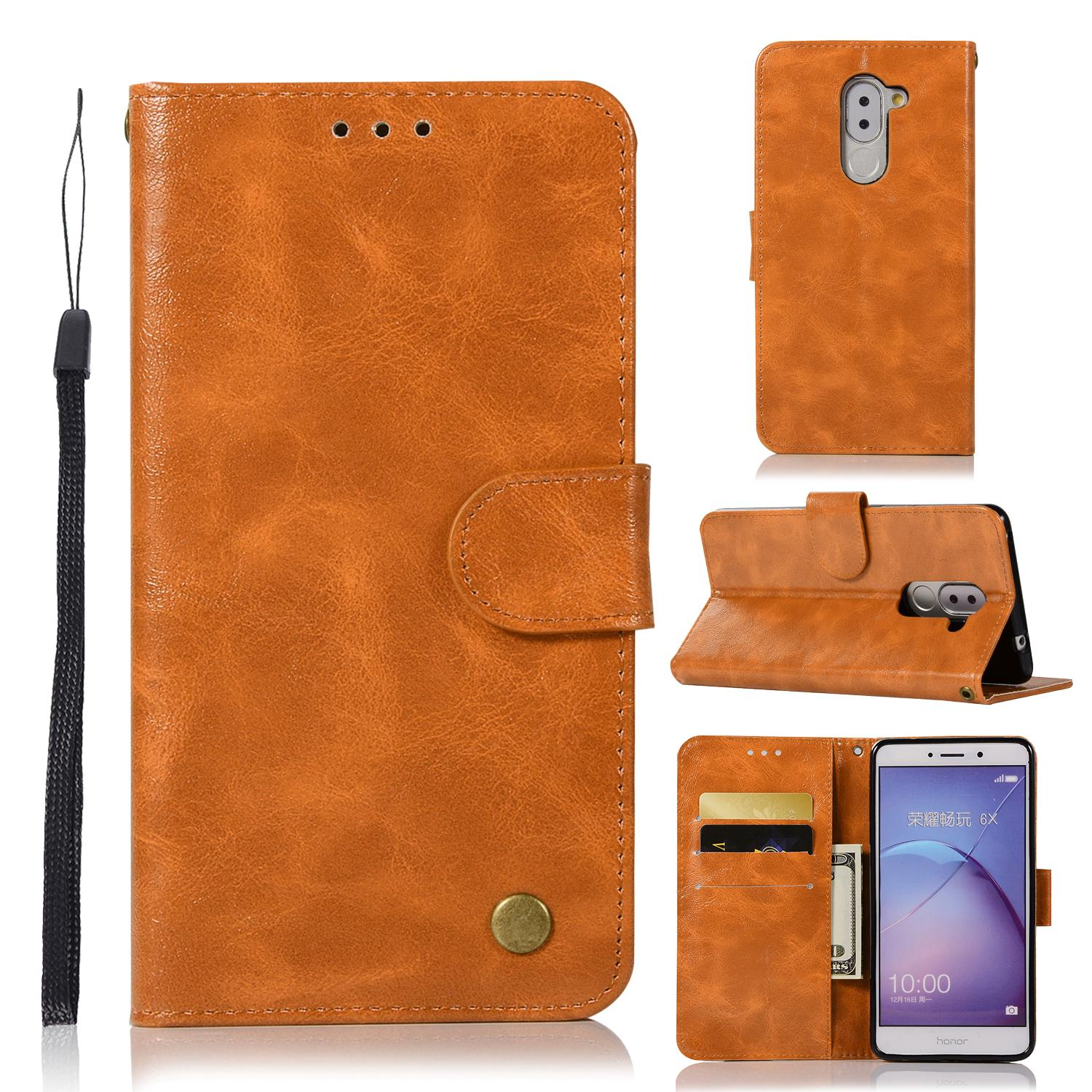Casing For Huawei Honor 6x,reto Leather Wallet Case Magnetic Double Card Holder Flip Cover By Life Goes On.