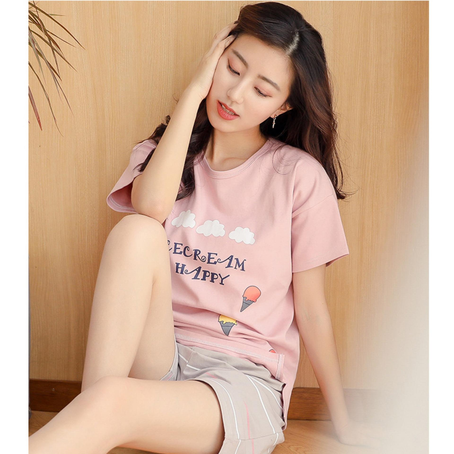 Hình ảnh Bộ đồ nữ mặc nhà, bộ quần áo nữ Nữ Hàn Quốc Ice Cream Loại 1