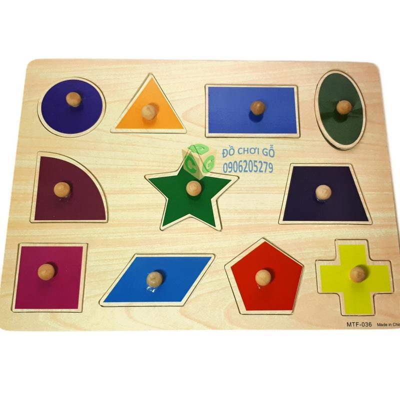 Hình ảnh Bảng ghép hình núm gỗ - Chủ đề: Hình Học