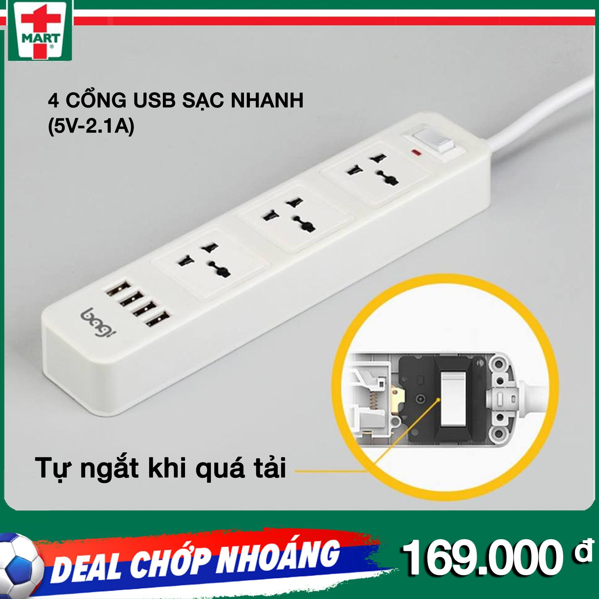 Ổ cắm Bagi 4 cổng USB sạc nhanh (5V-2.1A) tự ngắt khi quá tải- Thiết kế tinh tế, hoàn thiện cao cấp