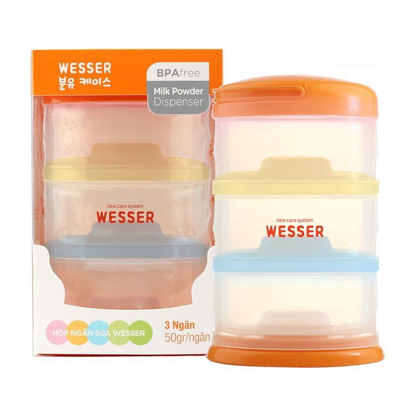 Hộp ngăn sữa bột thông minh Wesser (Màu cam)