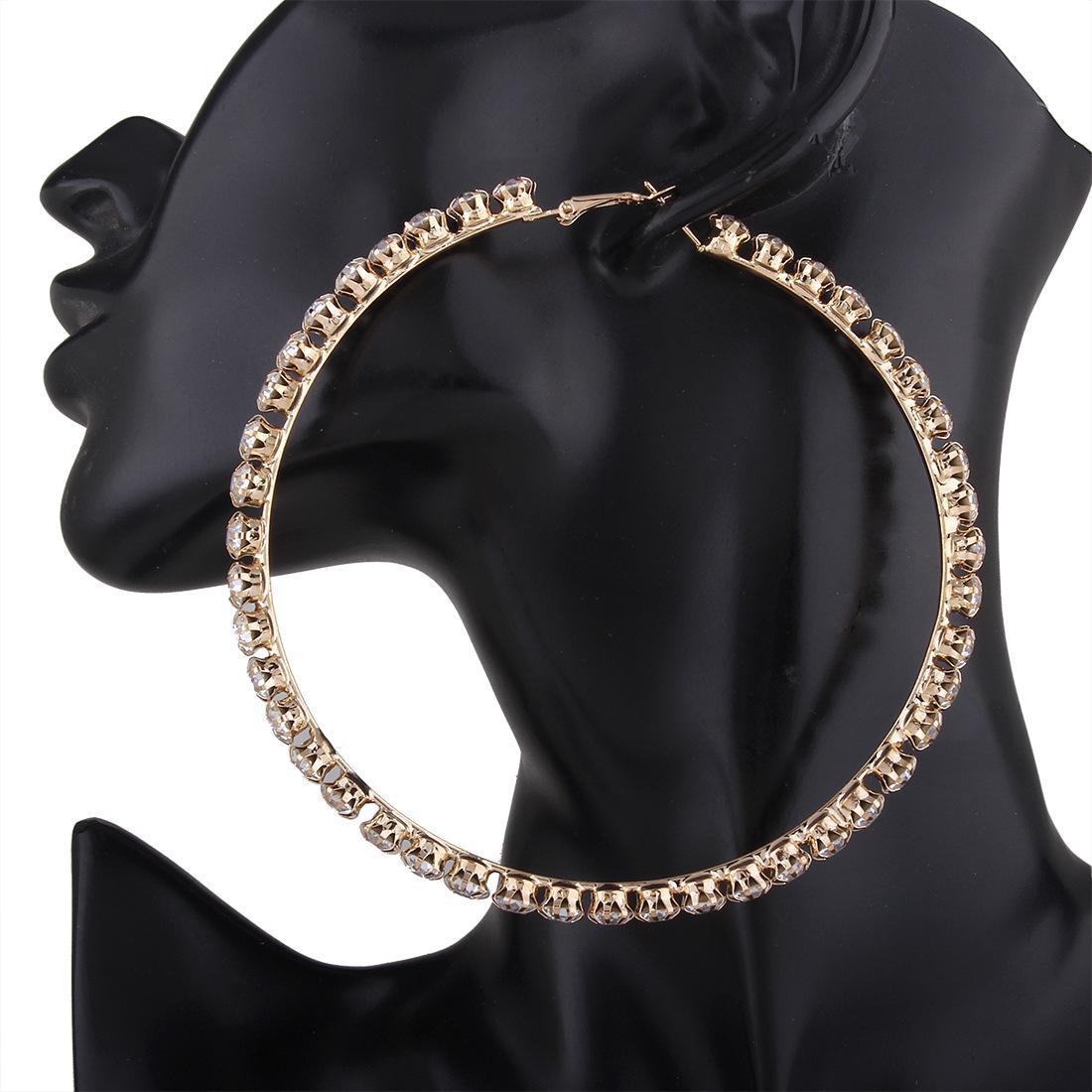 Circle Anting Dibesar-besarkan Besar Lingkaran Bulat Bertatah Berlian