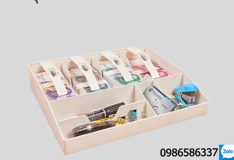 Hộp đựng tiền và văn phòng phẩm 4 ngăn, khay thu ngân 4 khoang để tiền và văn phòng phẩm