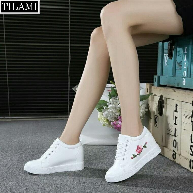 Hình ảnh Giày sneaker nữ độn đế thêu hoa hồng (trắng)