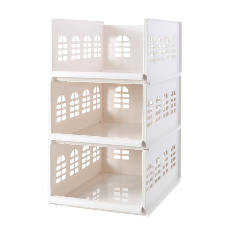 Drawer-type Wardrobe Storage Rack Cabinet Hierarchical Partition Organizing Rack Push-Pull Plastic Clothes Article Storage Shelf Large Size