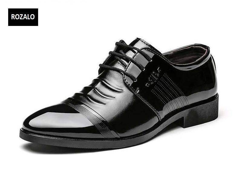 Giày tây da nam đế cao Rozalo RM51913B - Đen