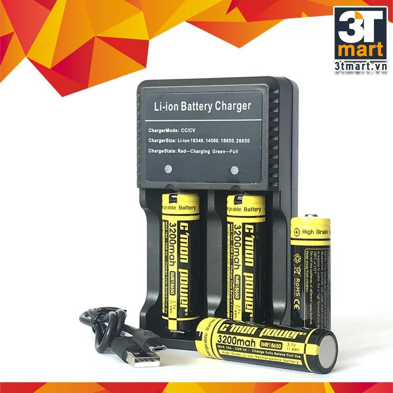 Bộ sạc đôi USB nhanh (1A) + 4 pin sạc CMON POWER li-ion IMR 18650 3200mAh 15A 3.7V (chuyên dùng cho đèn pin siêu sáng, VAPE, sạc dự phòng, quạt mini... - vàng)