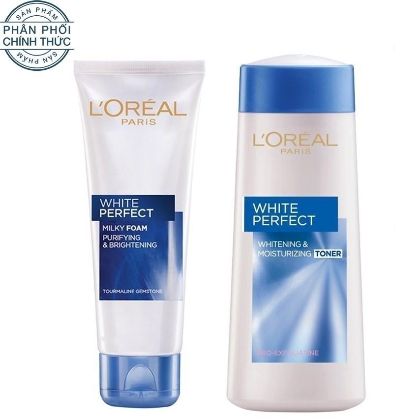 Hình ảnh Bộ sữa rửa mặt và nước hoa hồng dưỡng da trắng mượt đều màu L'Oréal Paris White Perfect