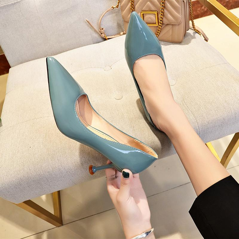 2019 Spring And Autumn New Style Patent Leather High Heel Shoes Female Thin Heeled Black Shallow Mouth Pointed Hipster Shoes Cat With Shoe By Taobao Collection.