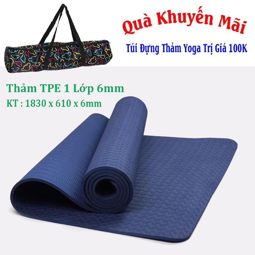 Hình ảnh Thảm Tập Yoga TPE Đúc 1 Lớp 6mm Cao Cấp + Tặng Túi Và Dây Buộc ( Xanh Navy)