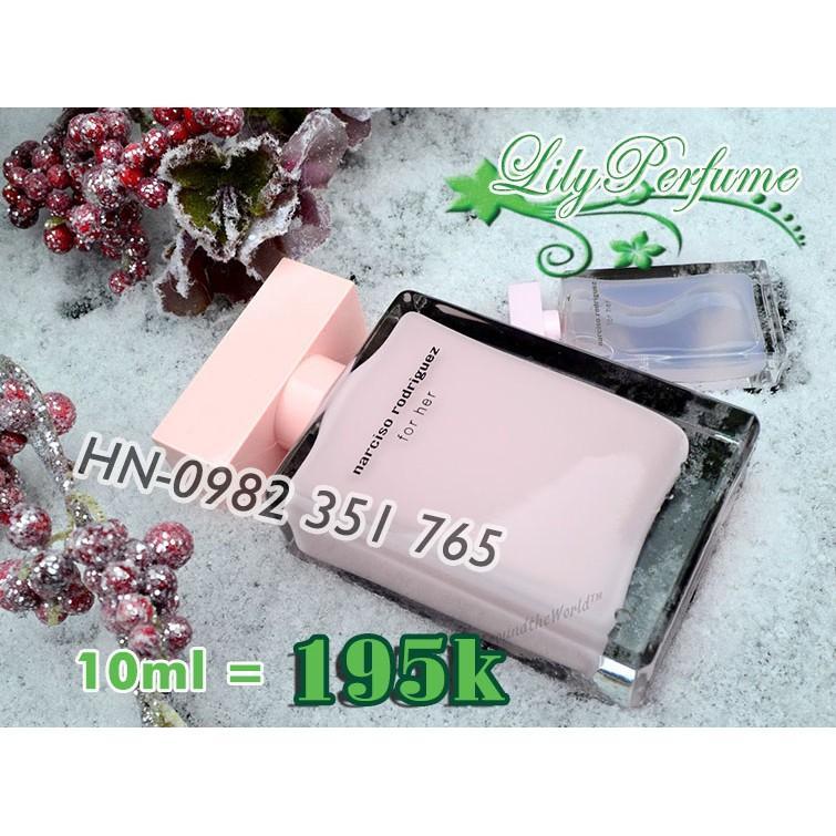 [Chiết 10ml] Narciso For Her EDP hồng phấn nước hoa - Thủy tinh gân 10ml