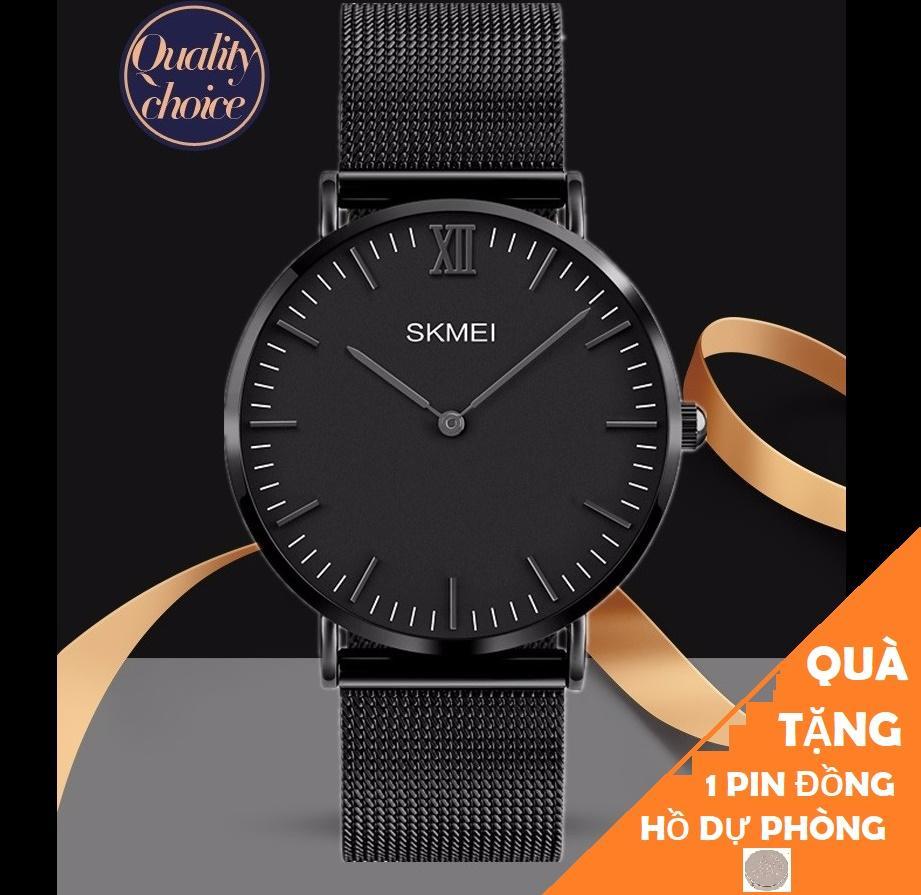 Đồng hồ nam dây thép lưới không gỉ SKMEI 1181 siêu mỏng (Tặng pin đồng hồ) Nhật Bản