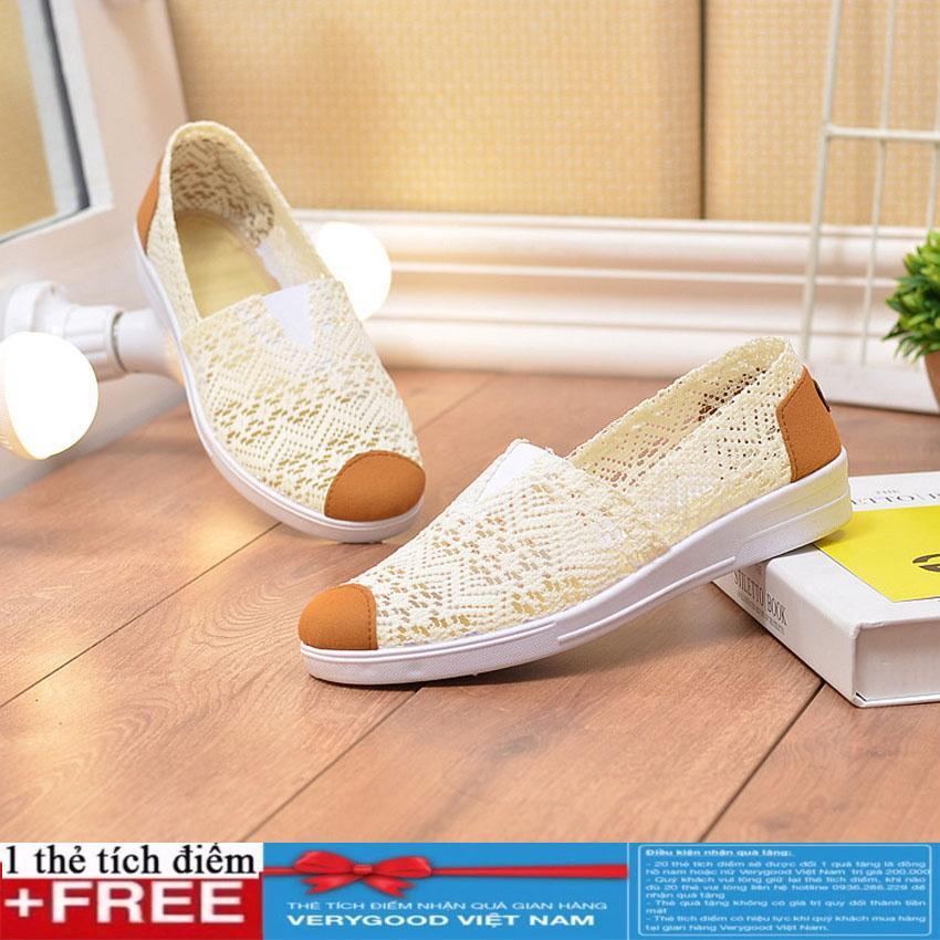 Giày Slip on vải ren cao cấp thoáng mát GTTG23+ Tặng kèm thẻ tích điểm Verygood