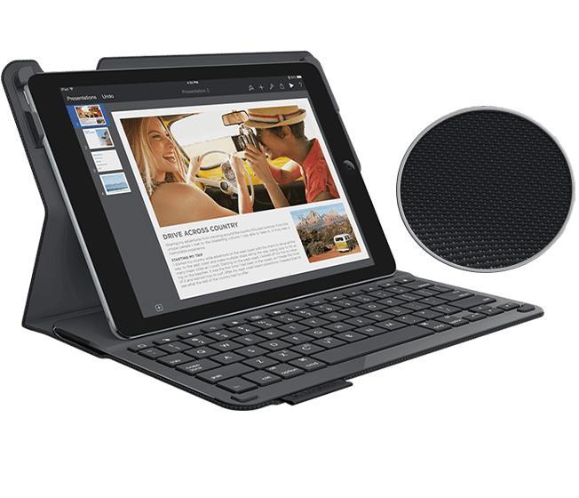 Hình ảnh Bàn Phím iPad 6th 2018 Hiệu Logitech Type + Bluetooth Kiêm Bao Da Bảo Vệ Open Full Box