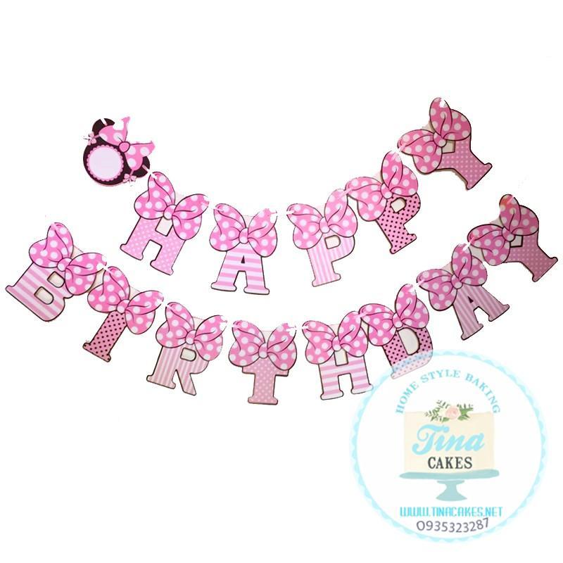 Hình ảnh Dây Chữ Happy Birthday - Dây Treo Sinh Nhật - Banner Trang Trí Sinh Nhật Chủ Đề Mickey Minie