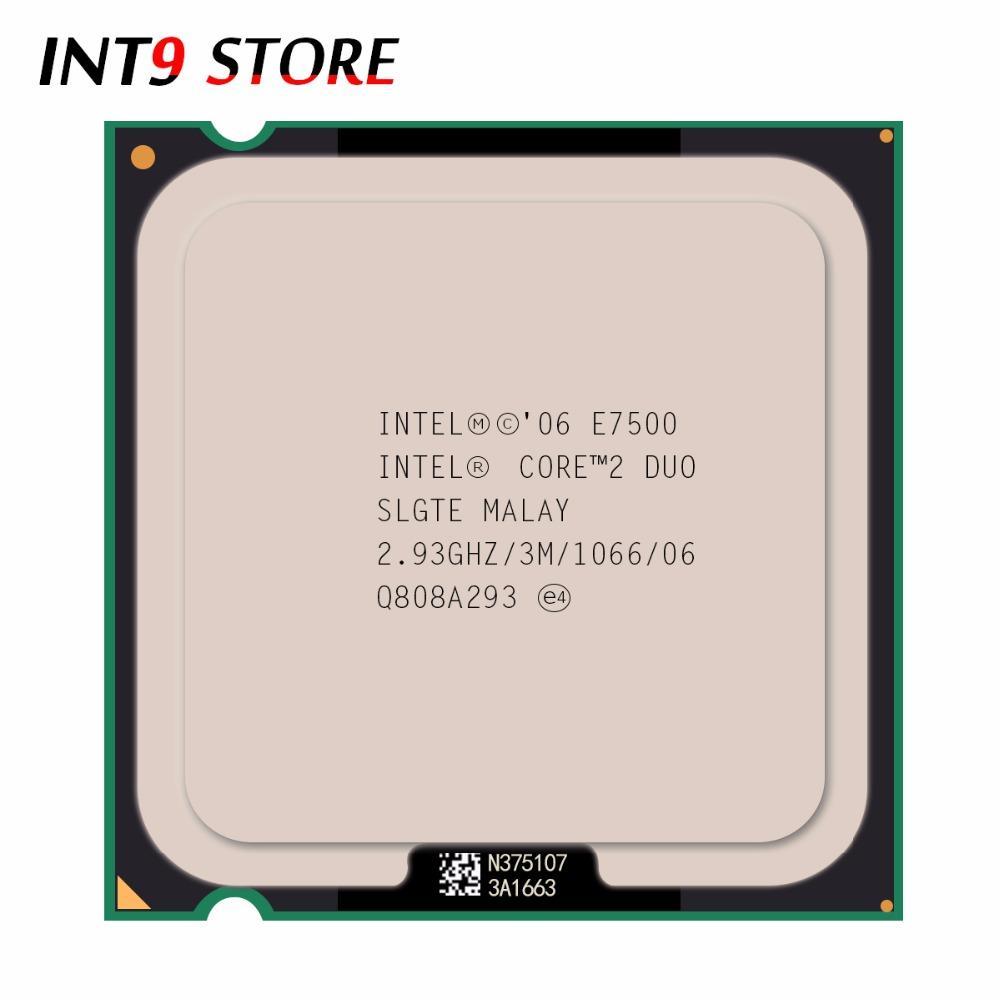 Asli Intel CPU Core 2 Prosesor Duo E7500 2.93 GHz//1066 MHz Dual-Core Socket 775 Cepat Kapal -Intl