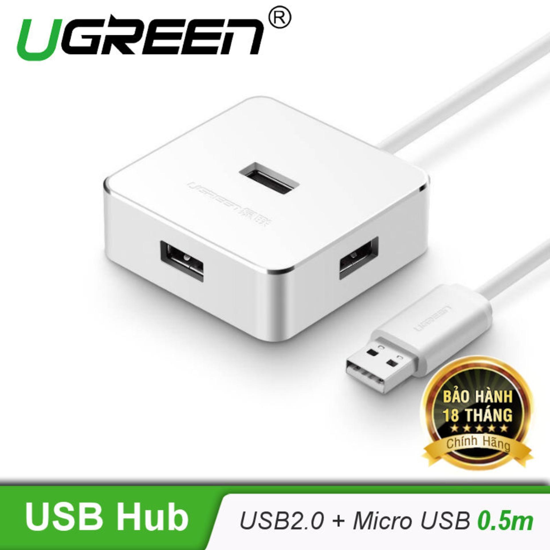 Giá Bán Hub Usb2 4 Cổng Co Hỗ Trợ Cổng Micro Usb Cung Cấp Nguồn Dai 5M Ugreen Cr135 30426 Trắng Mới Rẻ