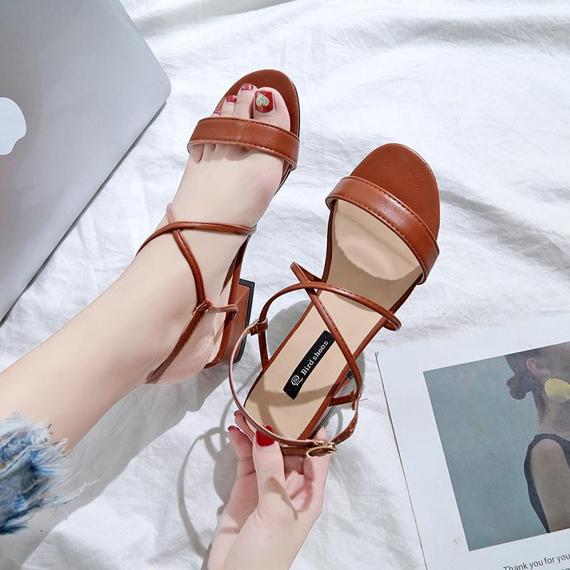 Sandals Female Spring 2019 New Style Fashion Block Heel Womens Shoes Versatile Korean Style Students A-Line With Low Heel Rome Shoe By Taobao Collection.