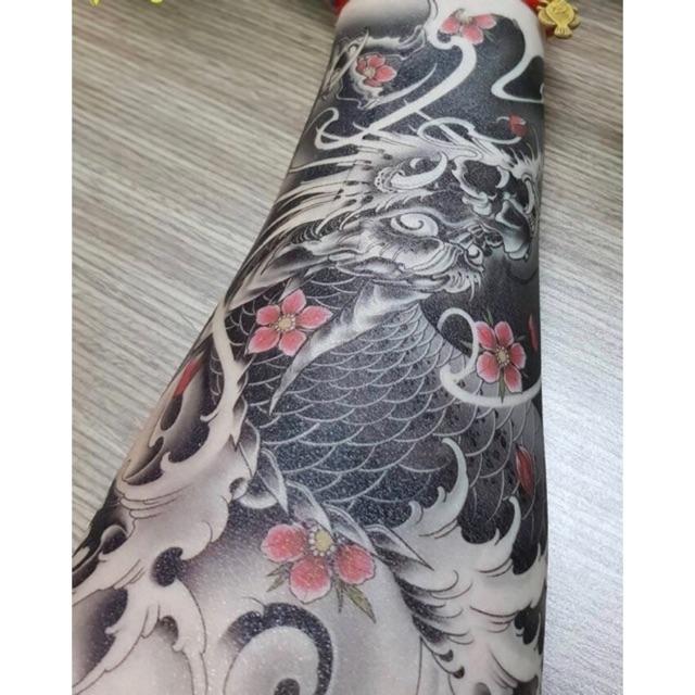 Hình ảnh Hình xăm dán tattoo 15x21cm Rồng hoa (tặng mini tattoo)