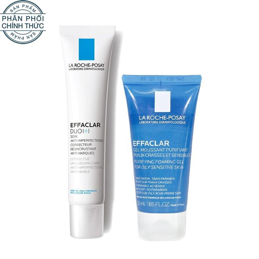 Hình ảnh Bộ đôi Kem dưỡng giảm mụn thông thoáng lỗ chân lông và ngừa thâm La Roche Posay Effaclar Duo+ 40ml và Gel rửa mặt dành cho da dầu mụn Effaclar gel 50ml