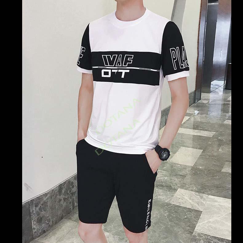Áo thun nam nguyên bộ phối đen trắng siêu đẹp ML70