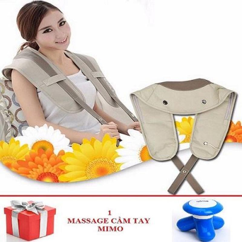 Đai đeo massage lưng - vai - cổ gáy + Tặng 1 máy massage mino cầm tay (màu ngẫu nhiên)
