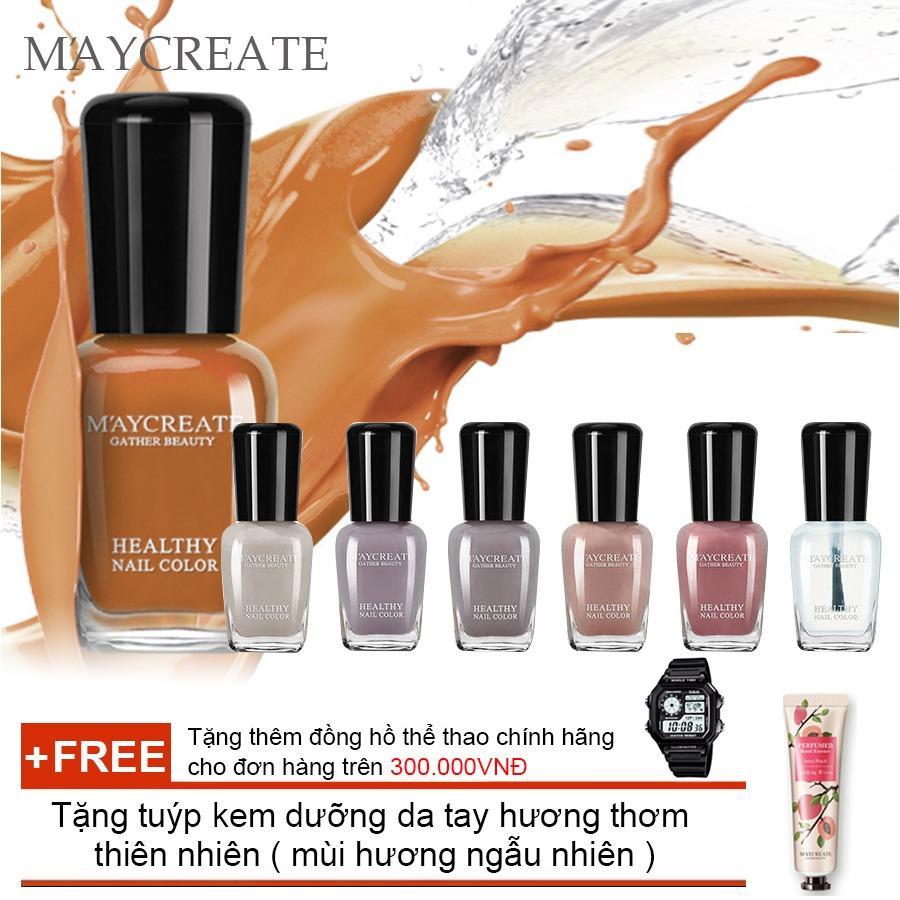 Hình ảnh Bộ 06 lọ sơn móng tay màu cao cấp Maycreate ( Mã màu 712 ) + Tặng tuýp kem dưỡng da tay hương thơm thiên nhiên ( Đơn hàng mỹ phẩm trên 300k tặng thêm 1 đồng hồ thể thao như quảng cáo )