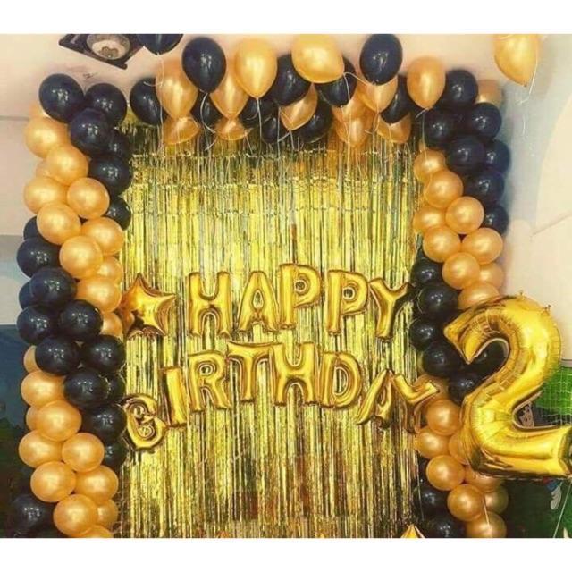 Hình ảnh Combo 2 rèm kim tuyến, bóng chữ Happy birthday và 50 bóng nhũ (chat với shop để chọn màu)