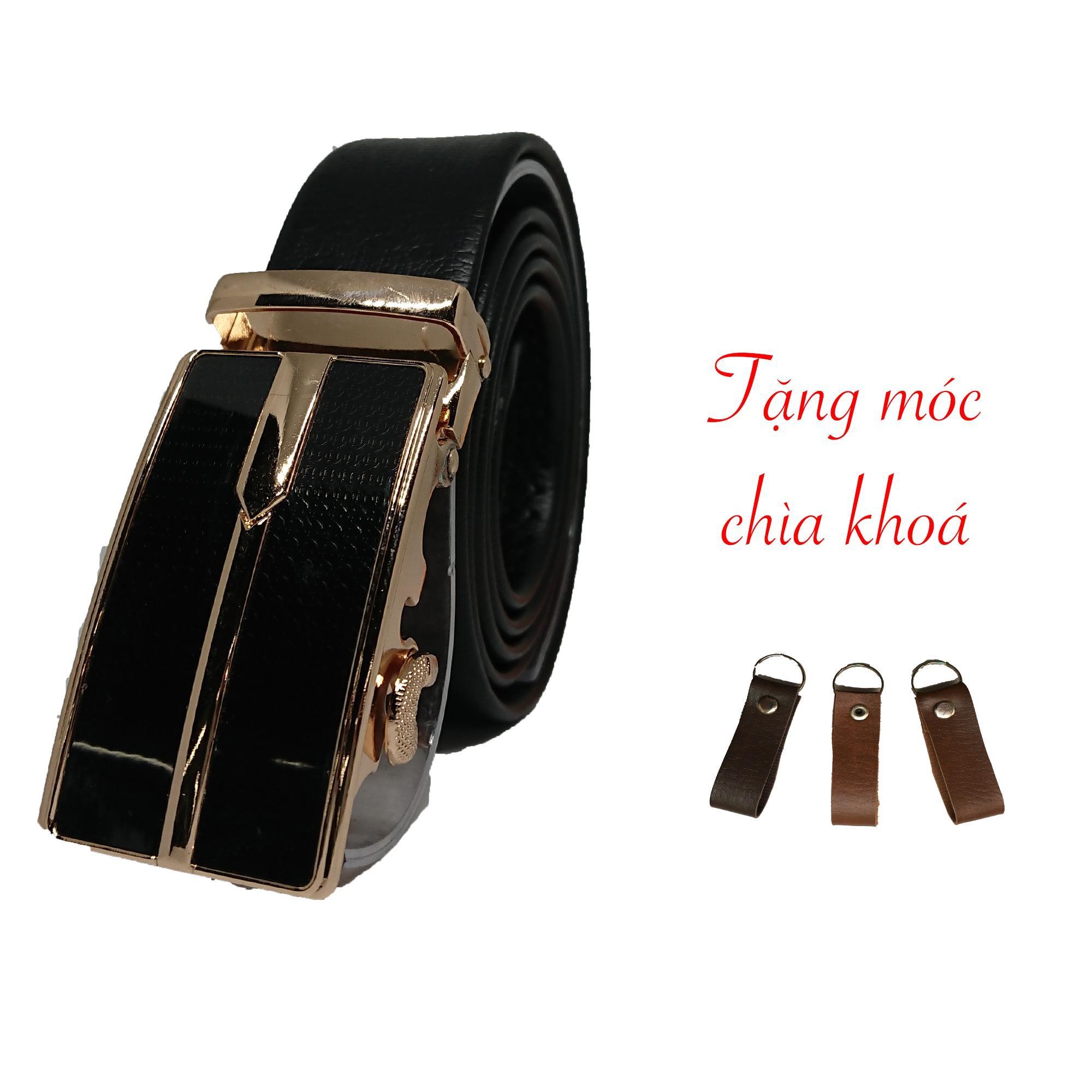 Thắt Lưng Dây Nịt Nam khóa tự động da bò - Bảo hành 6 tháng. Tặng kèm móc chìa khoá tiện dụng