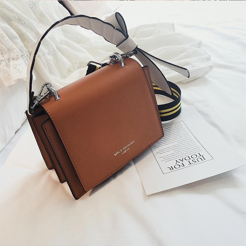 Spring And Summer Small Bag Female 2019 New Style Fashion Korean Style Versatile Crossbody/shoulder Bag Vintage Graceful Wide Shoulder Strap Square Sling Bag