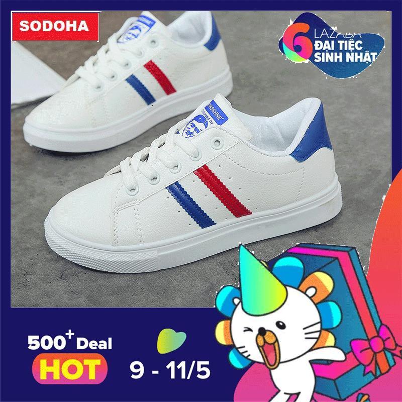 Giay Sneaker Thể Thao Nữ Sieu Hot Sodoha Ye89088Wb Trắng Viền Xanh Sodoha Chiết Khấu 40
