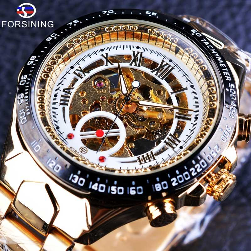Forsining S886-1 Stainless Steel Classic Series Transparent Golden Movement Steampunk Men Mechanical Skeleton Watches Top Brand Luxury Malaysia