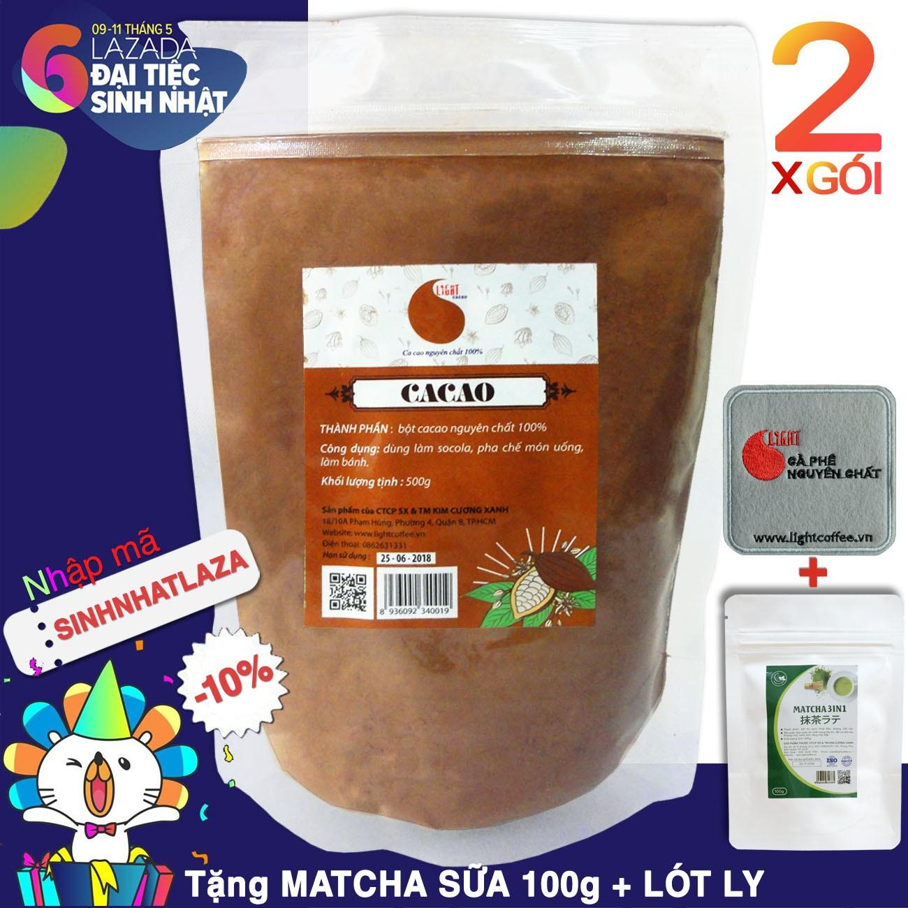 Giá Bán 02 Packs 1Kg Of 100 Pure Cacao Powder Light Cacao Trực Tuyến
