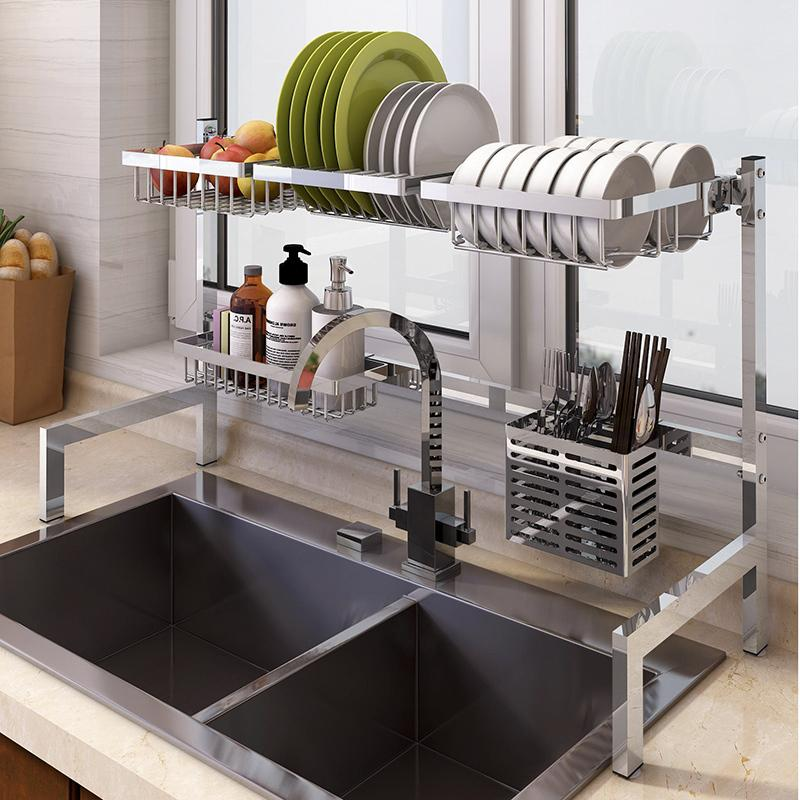 3e1265b64 304 Stainless Steel Kitchen Storage Shelf Sink Draining Shelf Pool Dry Put  Dishes Supplies Foldable Storage